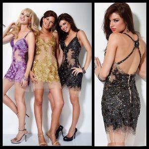 Jovani Gold Sequin Diamond Cocktail Party Dress